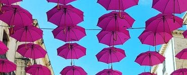 La rue de La Loge sous 300 parapluies roses